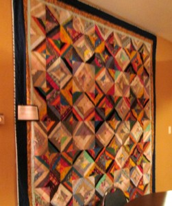 One of Dorothy's own handmade quilts, on the wall of the TRV social center