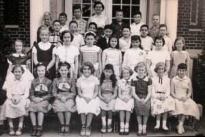 Mrs. Hanlon's fifth grade class. I am the blond in the dark jumper in the second row; Jeff is in the row behind me, third from left.