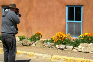 My shot of John shooting poppies on Ledoux Street in Taos