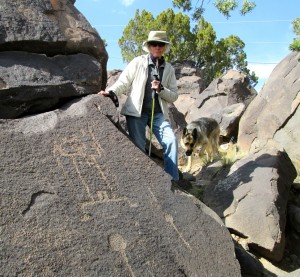 Katherine with one of the petroglyphs on her property