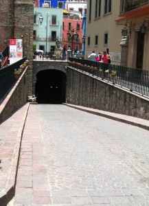 The mouth of one of the tunnels in Guanajuato