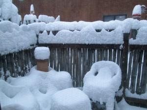 Taos snow -- view of patio