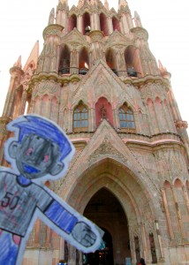 Flat Stanley at Parroquia church on Xmas morning