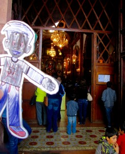 Flat Stanley at church Xmas morning -- too full to even fit him in!