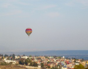 Hot air balloon over San Miguel de Allende, Mexico