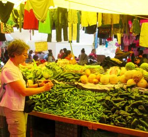 She is dazzled by everything here in Mexico -- especially the colors