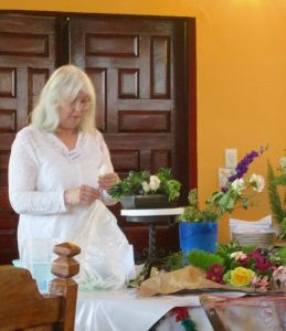 Wendy Siebert doing flower arranging