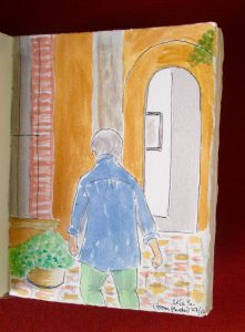 My painting from a photo of my friend Iris approaching her front door -- still needing finishing touches