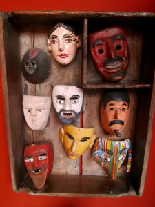 A mask display near the entryway to the Mask Museum in SMA