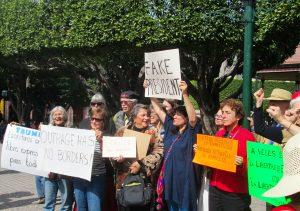 Writers Resist demonstrators in the Jardin, San Miguel de Allende, MX, January 15th