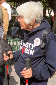 "A proud ""Nasty Woman"" at the demonstration"